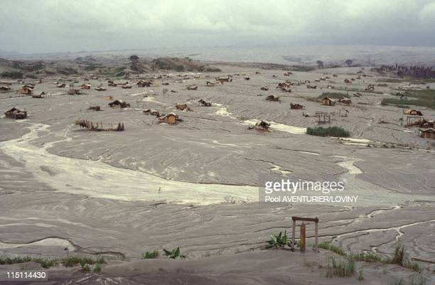 The Pinatubo volcano eruption in Philippines on August 02 1991 Abandonned villages covered by ashes