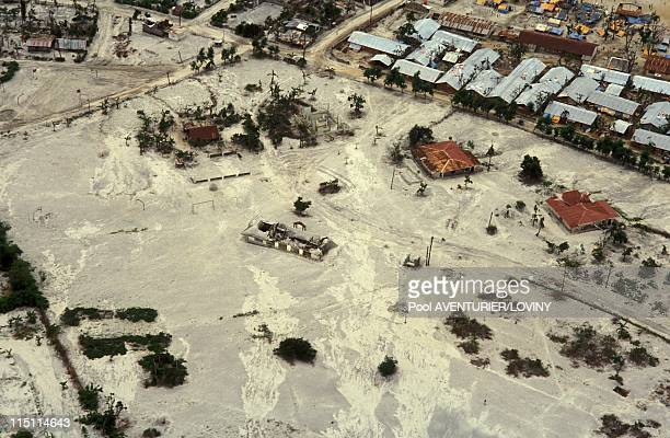 The Pinatubo volcano eruption in Philippines on August 02 1991 Village covered by ashes