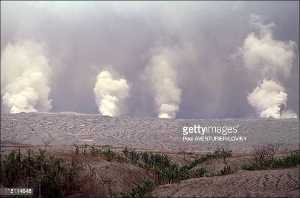 The Pinatubo volcano eruption in Philippines on August 02 1991 Eruptions on the Pinatubo mount