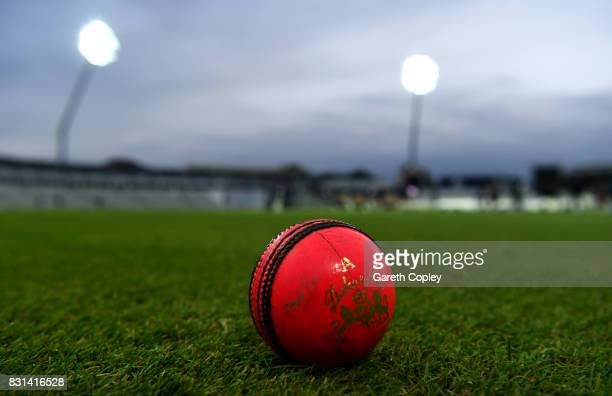 The pink ball during a nets session at Edgbaston on August 14, 2017 in Birmingham, England.