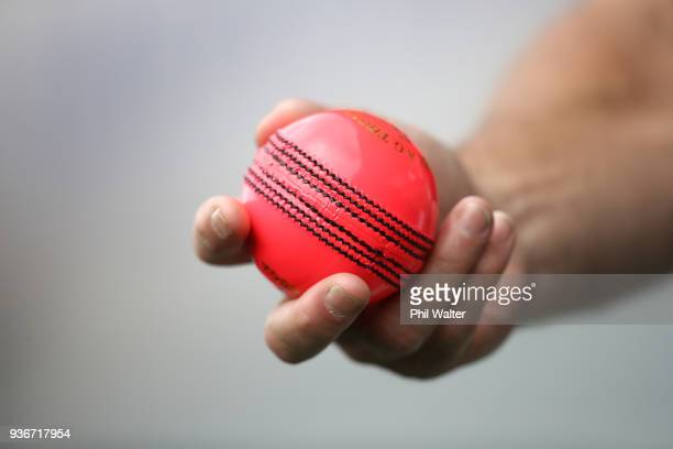 The pink ball in use during day two of the First Test match between New Zealand and England at Eden Park on March 23 2018 in Auckland New Zealand