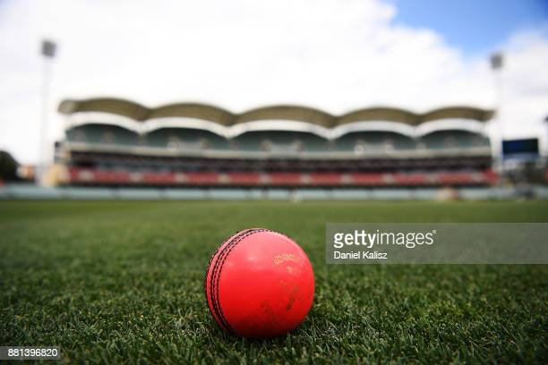 The pink ball is pictured on Adelaide Oval during an Australian nets session at Adelaide Oval on November 29, 2017 in Adelaide, Australia.