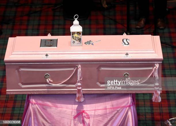 The pink coffin during the funeral of sixyearold Alesha MacPhail at the Coats Funeral Home on July 21 2018 in Coatbridge Scotland Alesha MacPhail's...