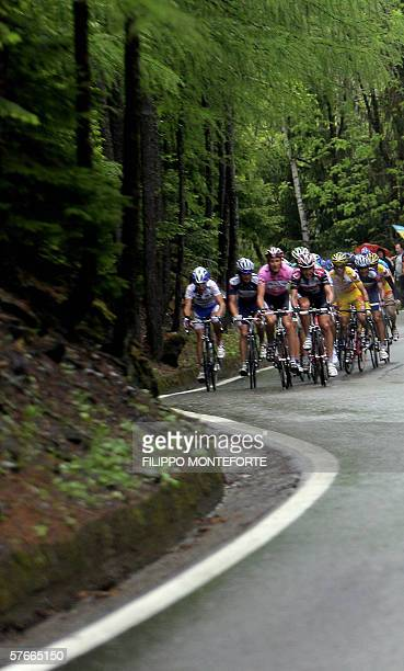 The Pink Jersey, Italy's Ivan Basso climbs ahead of the pack during the thirteenth stage of Giro D'Italia cycling tour from Alessandria to La Thuile,...