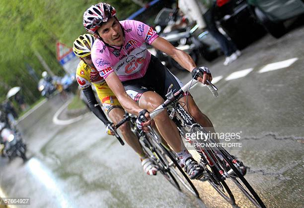 The Pink Jersey of overall leader, Italy's Ivan Basso rides uphill during the thirteenth stage of Giro D'Italia cycling tour from Alessandria to La...