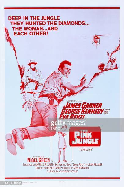 The Pink Jungle poster US poster art from left George Kennedy James Garner Eva Renzi 1968