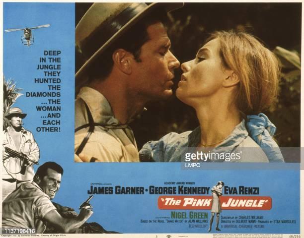 The Pink Jungle US lobbycard left from top George Kennedy James Garner center from left James Garner Eva Renzi 1968