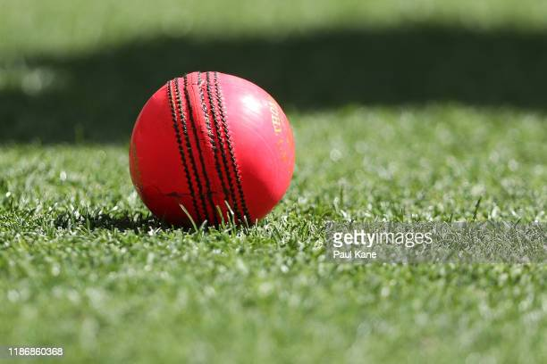 The pink match ball is seen after being hit to the boundary during the International Tour match between Australia A and Pakistan at Optus Stadium on...
