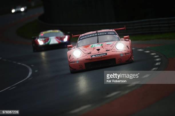 The 'Pink Pig' retro liveried Porsche GT Team 911 RSR of Michael Christensen Kevin Estre and Laurens Vanthoor drives during the Le Mans 24 Hour race...