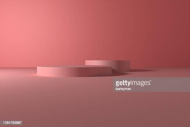 the pink three-dimensional product display space - groep objecten stockfoto's en -beelden