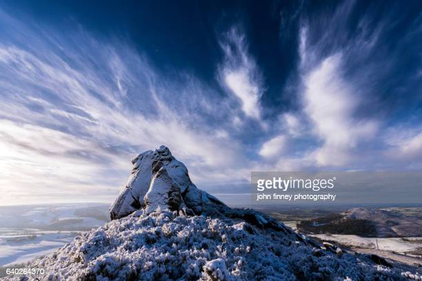 The Pinnacle of Ramshaw Rocks in winter, located between Buxton and Leek in the Peak District National park. UK.