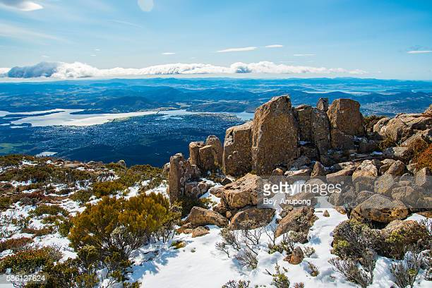 the pinnacles rock on the top of mount wellington, hobart, tasmania. - hobart tasmania stock pictures, royalty-free photos & images
