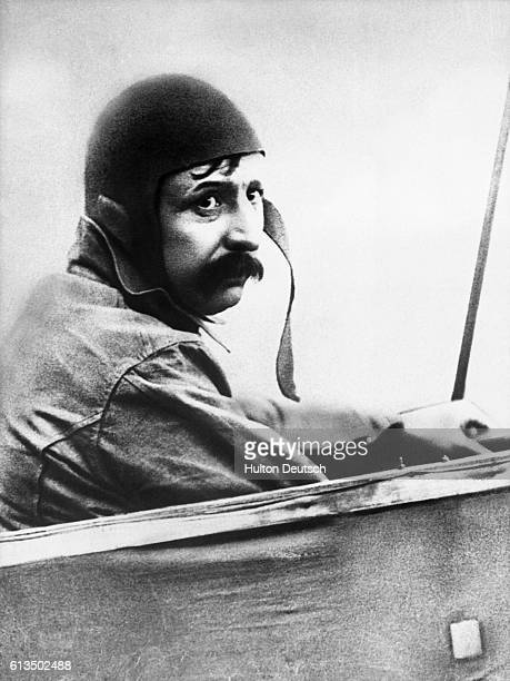 The pioneering French aviator Louis Bleriot who made the first flight across the English Channel in 1909 in his plane before departure