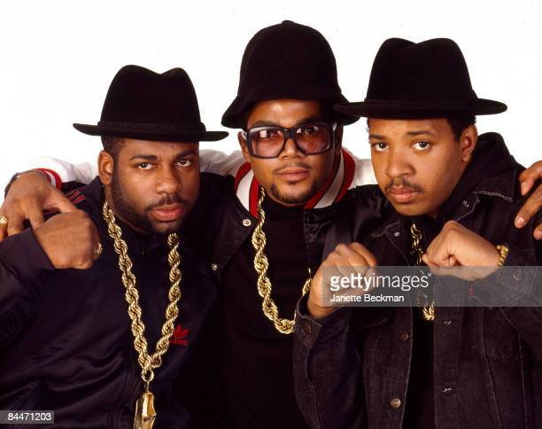The pioneering rap group Run DMC poses in a New York city studio 1986 From left to right Jason 'Jam Master Jay' Mizell Darryl 'DMC' McDaniels and...
