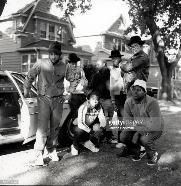 The pioneering rap group Run DMC poses on the streets of their Hollis Queens neighborhood 1984 The primary members of the group are Jason 'Jam Master...