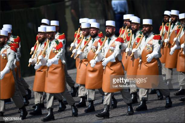 The Pioneers of the Foreign Legion parades during the Military Defile on the occasion of the National Day on July 14 2018 in Paris France Japan and...