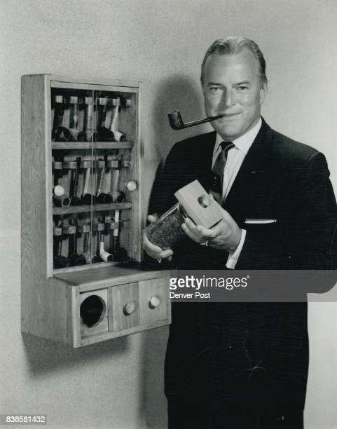 The pipe rack shown here with NBC television personality Tom Frandsen stores 18 pipes and has three drawers including two airtight ones for tobacco...
