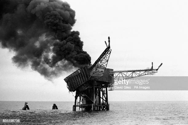 The Piper Alpha oil platform the day after it exploded