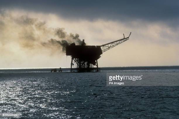 The Piper Alpha oil production platform on fire in the North Sea