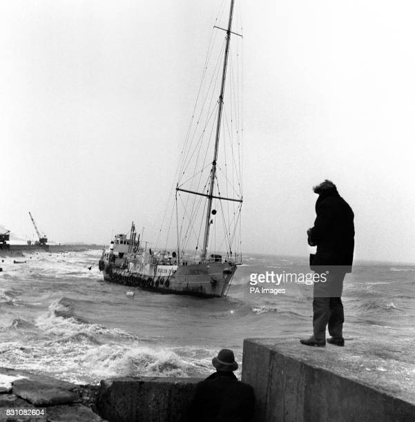 The 'pirate' radio ship Radio Caroline aground in rough water between Frinton and Holland on Sea where she was blown by a gale during the night Five...