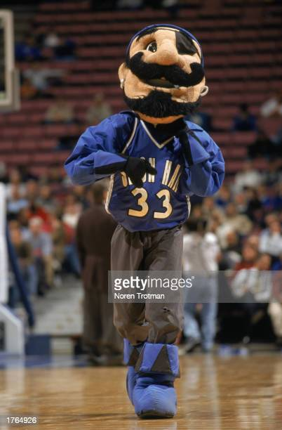 The Pirates' mascot entertains the crowd during the NCAA basketball game between the Seton Hall University Pirates and the Pennsylvania Quakers at...