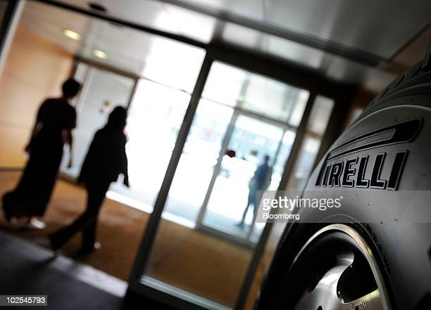 The Pirelli C SpA logo is seen on a tire at the company's headquarters in Milan Italy on Wednesday June 30 2010 Pirelli C SpA Chairman Marco...