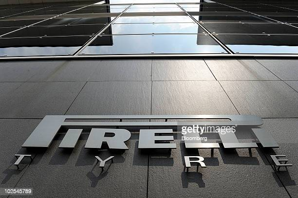 The Pirelli C SpA logo is seen on the company's headquarters in Milan Italy on Wednesday June 30 2010 Pirelli C SpA Chairman Marco Tronchetti Provera...