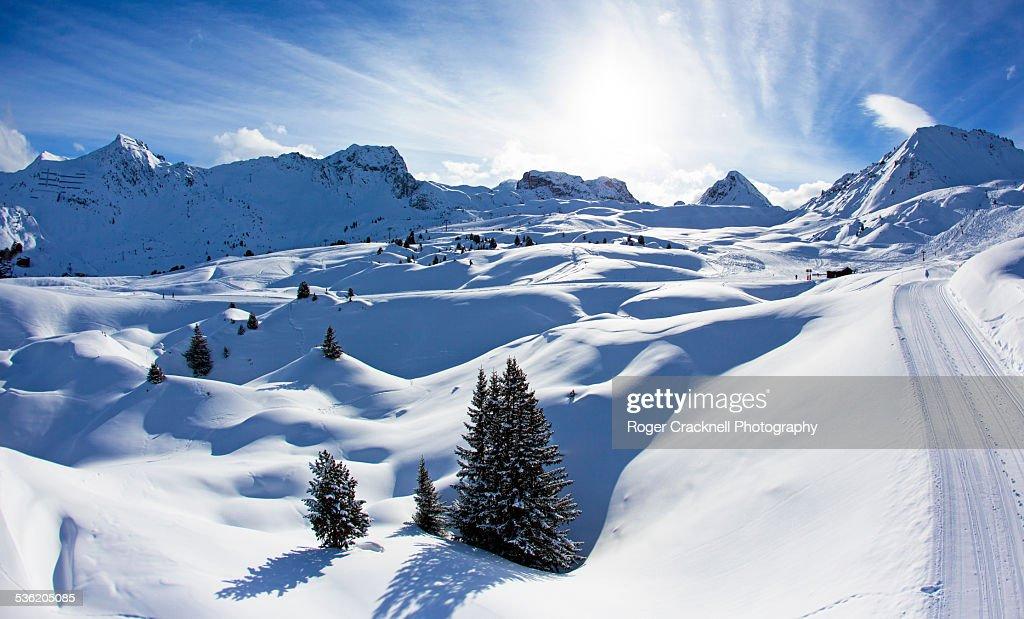 The Piste La Plagne French Alps : Stock Photo