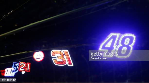 The pit sign of Jimmie Johnson driver of the Lowe's Chevrolet is seen during the Monster Energy NASCAR Cup Series CanAm Duel 2 at Daytona...