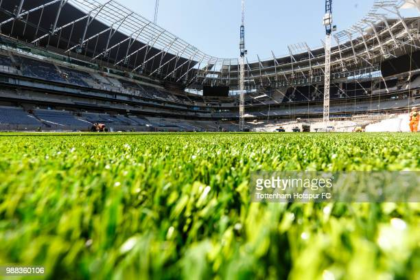 The pitch as work continues on Tottenham Hotspur's new stadium at White Hart Lane on June 27 2018 in London England