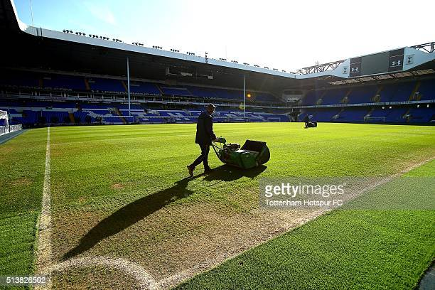 The pitch at White Hart Lane is prepared before the north London derby on March 3 2016 in London England