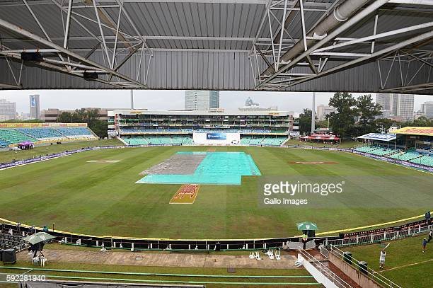 the pitch covered during day 2 of the 1st Sunfoil International Test match between South Africa and New Zealand at Sahara Stadium Kingsmead on August...