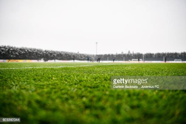 The pitch during a Juventus training session at Juventus Center Vinovo on February 23, 2018 in Vinovo, Italy.