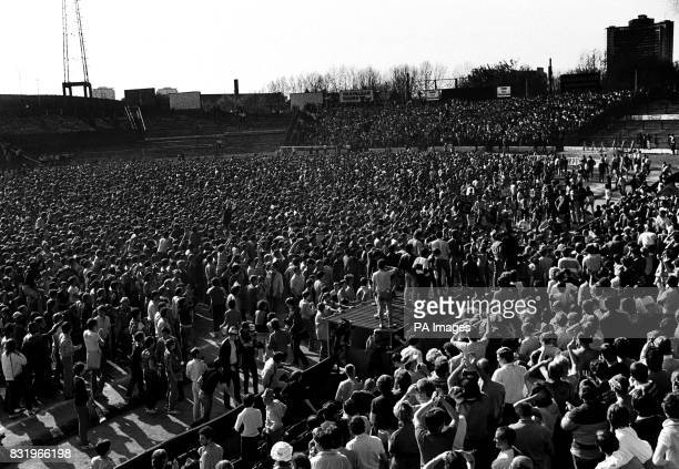 The pitch flooded with fans after Chelsea won promotion to Division One with a 50 victory over Leeds
