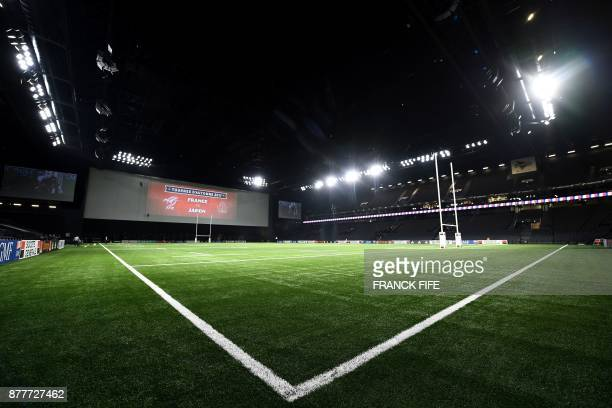 The pitch is pictured at the U Arena in Nanterre near Paris on November 23 two days ahead of a rugby union test match between France and Japan FIFE