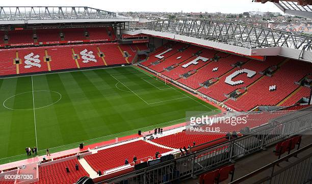 The pitch is pictured from Liverpool Football Club's new main stand during a media tour at Anfield stadium in Liverpool northwest England on...