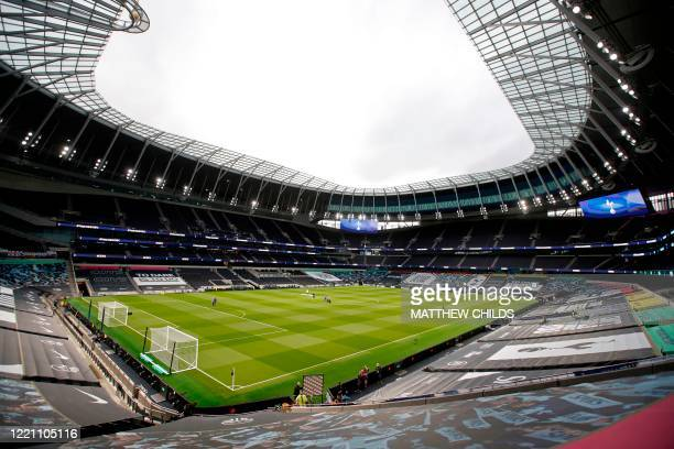 The pitch is viewed from the stands ahead of the English Premier League football match between Tottenham Hotspur and Manchester United at Tottenham...