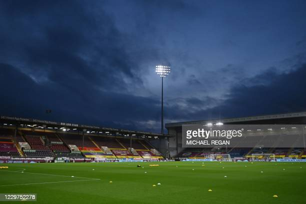 The pitch is viewed under floodlights ahead of kick-off in the English Premier League football match between Burnley and Crystal Palace at Turf Moor...