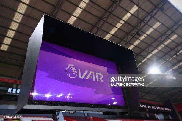 The pitchside monitor used for VAR is seen during the English Premier League football match between Sheffield United and Tottenham Hotspur at Bramall...