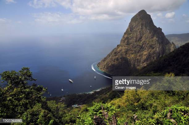 the pitons of st lucia in the caribbean - dominica stock pictures, royalty-free photos & images