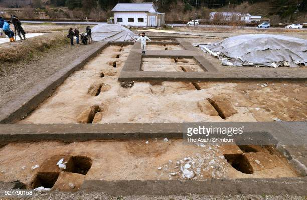 The pits in the ground suggest the ancient structure measured at least 192 meters west to east on February 21 2000 in Asuka Nara Japan Researchers...