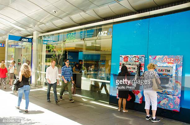 BRANCH SYDNEY NSW AUSTRALIA The Pitt Street ANZ Branch seen supporting the Sydney Gay and Lesbian Mardi Gras event by bringing back the annual GAYTM...