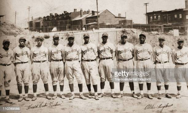 The Pittsburgh Crawford Baseball Club poses for a panoramic photo in Ammon Field circa 1928 in Pittsburgh, Pennsylvania. Hall of Famer Josh Gibson...
