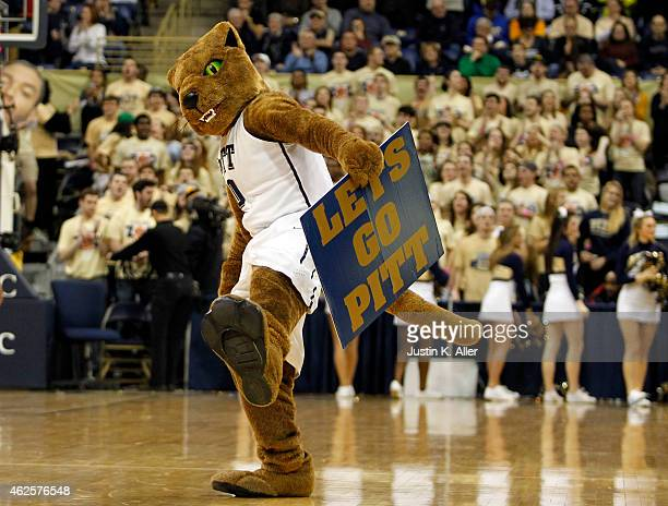 The Pittsburgh Panther cheers against the Notre Dame Fighting Irish during the game at Petersen Events Center on January 31 2015 in Pittsburgh...
