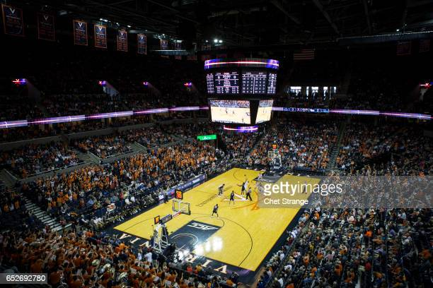 The Pittsburgh Panthers and Virginia Cavaliers tip off during a game at John Paul Jones Arena on March 4 2017 in Charlottesville Virginia