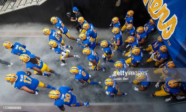The Pittsburgh Panthers take the field before the start of the game against the North Carolina State Wolfpack at Heinz Field on October 3, 2020 in...