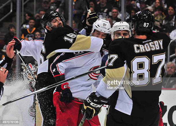 The Pittsburgh Penguins and the Columbus Blue Jackets get into an altercation during the game at Consol Energy Center on November 13 2015 in...