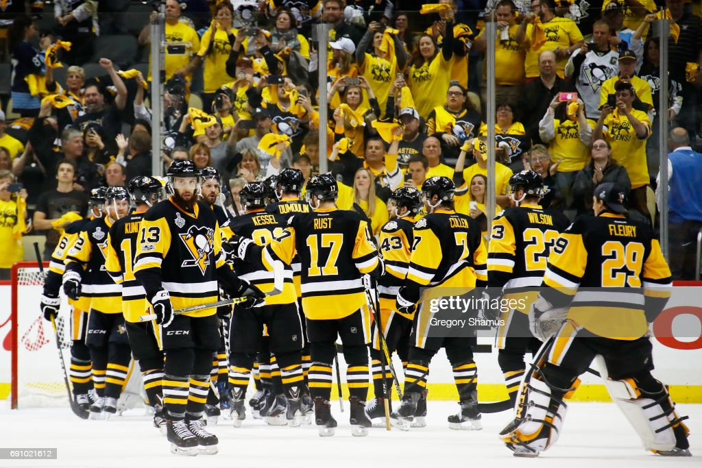 The Pittsburgh Penguins celebrate after defeating the Nashville Predators 4-1 in Game Two of the 2017 NHL Stanley Cup Final at PPG Paints Arena on May 31, 2017 in Pittsburgh, Pennsylvania.