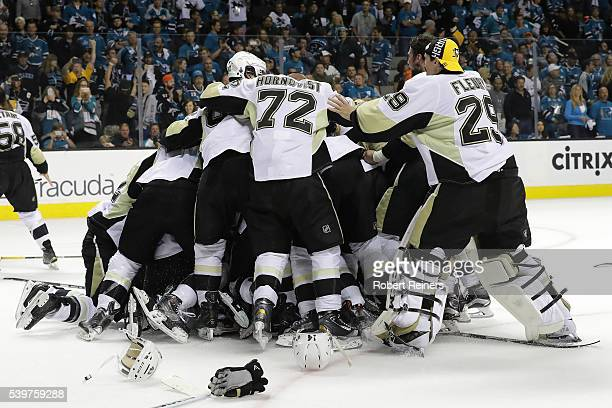 The Pittsburgh Penguins celebrate after their 31 victory to win the Stanley Cup against the San Jose Sharks in Game Six of the 2016 NHL Stanley Cup...