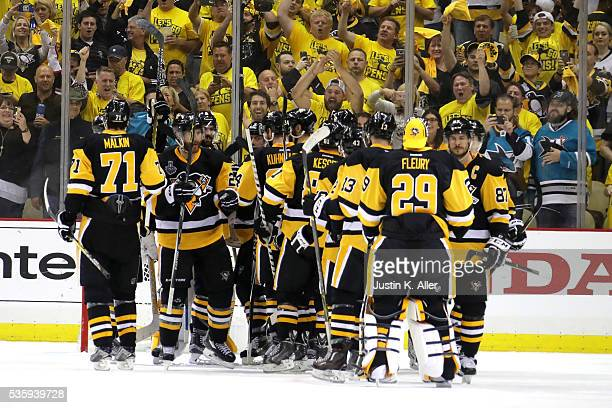 The Pittsburgh Penguins celebrate defeating the San Jose Sharks 32 in Game One of the 2016 NHL Stanley Cup Final at Consol Energy Center on May 30...